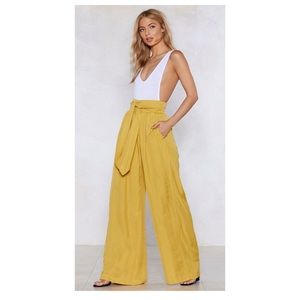 Nasty Gal Collection Yellow Wide Leg Pants